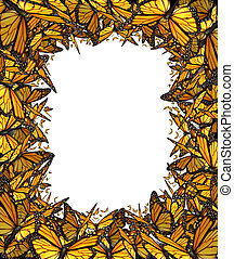 vlinder, frame, grens, leeg