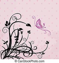 vlinder, gebladerte
