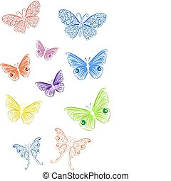 vlinder, gekleurde, kant