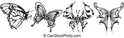 vlinder, gemaakt, eps, vector-