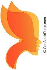 vlinder, gezichten, vec, sexy, logo, vrouwen