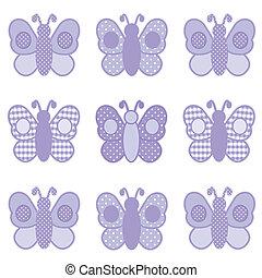 vlinder, gingham, en, polka punten