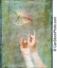 vlinder, gloeiend, handen op, reiken