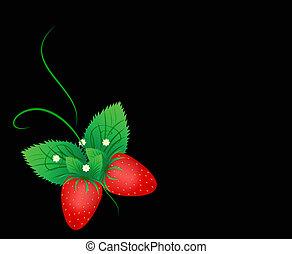 vlinder, gr, aardbei