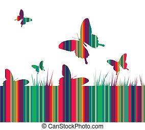 vlinder, gras, kleurrijke, achtergrond