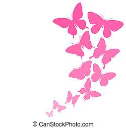 vlinder, grens, achtergrond, flying.