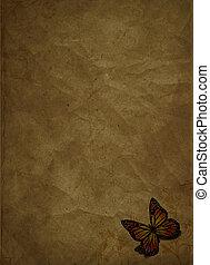 vlinder, grunge, achtergrond