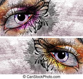 vlinder, grunge, opmaken, achtergrond, oog