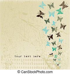 vlinder, grunge, retro, achtergrond