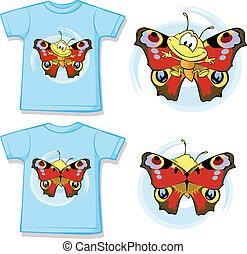 vlinder, hemd, schattig, geitje