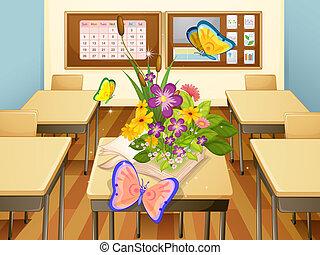 vlinder, in, een, klaslokaal