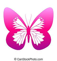 vlinder, kleur, vrijstaand, witte