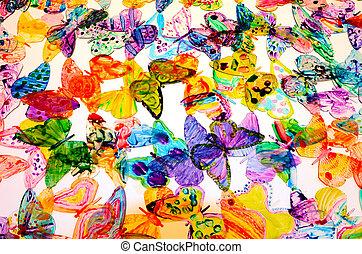 vlinder, kleurrijke, achtergrond