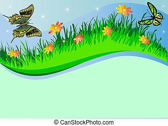 vlinder, kruid, achtergrond, bloem