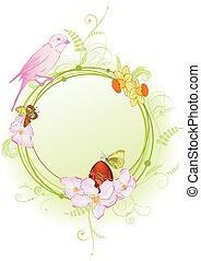 vlinder, lente, vogel, bloemen, frame