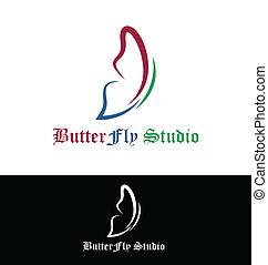 vlinder, logo, vector