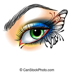 vlinder, maken, oog, op