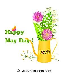 vlinder, mei, kleurrijke, dag, bloem