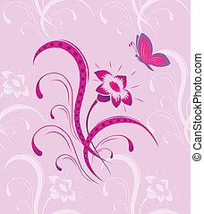 vlinder, model, bloem