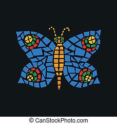 vlinder, mozaïek