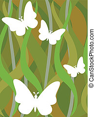 vlinder, op, seamless, donkergroen, golvend patroon