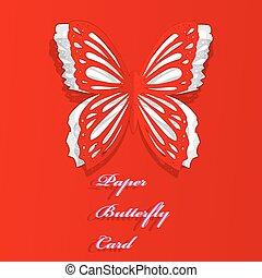 vlinder, papier, begroetende kaart