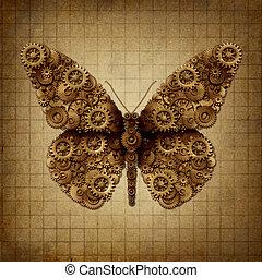 vlinder, punker, stoom