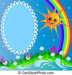 vlinder, regenboog, frame, zon