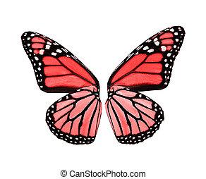 vlinder, rood, vleugels
