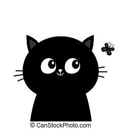 vlinder, schattig, hoofd, silhouette, card., achtergrond., isolated., character., groet, plat, kat, het kijken, aanhalen, black , verzameling, baby, wit gezicht, spotprent, insect., design.