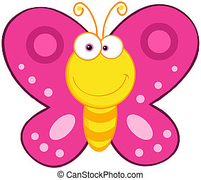 vlinder, schattig, karakter, spotprent