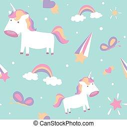 vlinder, schattig, pony, pattern., seamless, sterretjes, ontwerp, regenboog, eenhoorn, baby