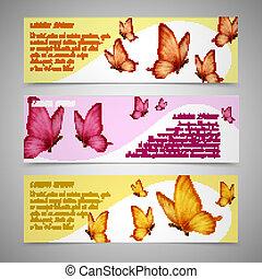 vlinder, set, banieren