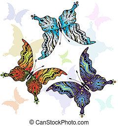 vlinder, set, clorful