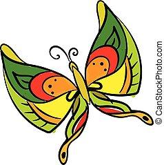 vlinder, set, kleur, vrijstaand, illustratie, vector, achtergrond, multi-colored, witte , schilderij, of