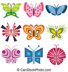 vlinder, set, kleurrijke, iconen