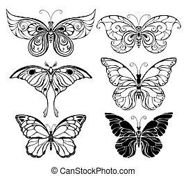 vlinder, set, kunst