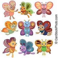 vlinder, set, spotprent, pictogram