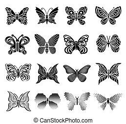 vlinder, set, stijl, eenvoudige beelden
