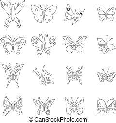vlinder, set, stijl, schets, iconen