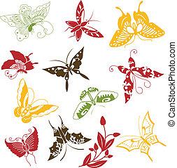 vlinder, set, versieringen