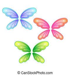 vlinder, set, vleugels