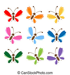 vlinder, set, voor, jouw, ontwerp