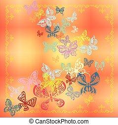 vlinder, set, vrijstaand, op, oranje achtergrond