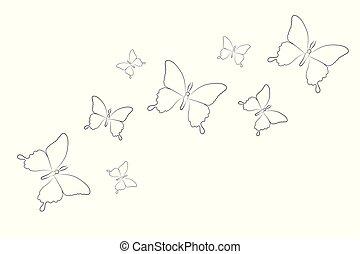 vlinder, set, vrijstaand, tekening, achtergrond, wit lijnen
