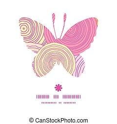 vlinder, silhouette, doodle, frame, textuur, vector, model, cirkel