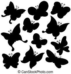 vlinder, silhouette, verzameling