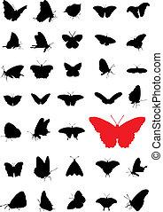 vlinder, silhouettes