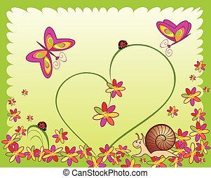 vlinder, slak, bloem, kaart, ladybugs