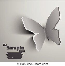 vlinder, snijden document, uit